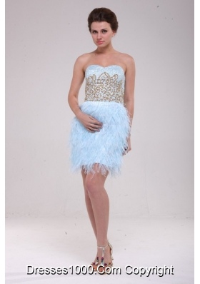 Feather Sweetheart Appliques Blue Short Prom Cocktail Dress