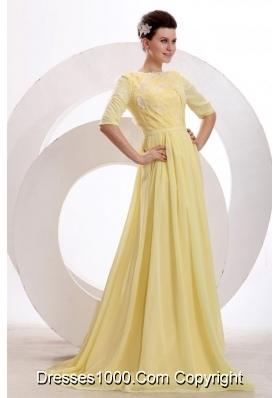 Bateau Neck Half Sleeves Yellow Brush Train JS Prom Dresses