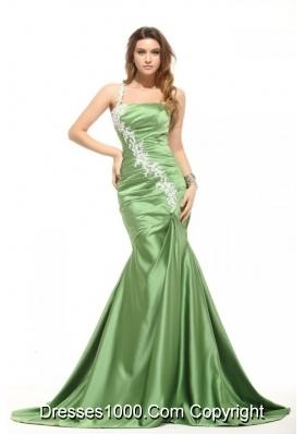One Shoulder Ruched Mermaid Taffeta Prom Dresses in Green