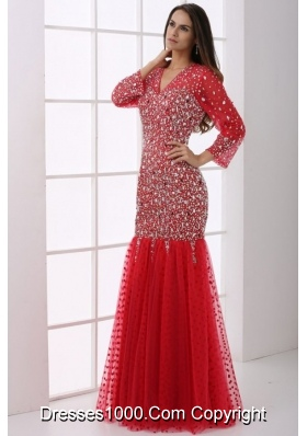 Sleeves V Neck Beaded Mermaid Prom Cocktail Dresses in Red