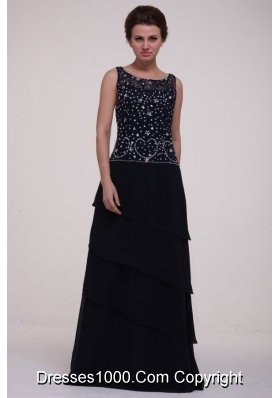 Scoop Neck Beading Layers Navy Blue Long Dress for JS Prom