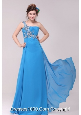 Blue One Shoulder Applique Ruched 2014 Prom Celebrity Dress