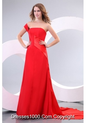 Amazing One Shoulder Sweep Train Red Dress for Prom Night