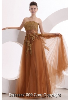 Appliques Strapless Brown Lace Up Back Empire Prom Gowns