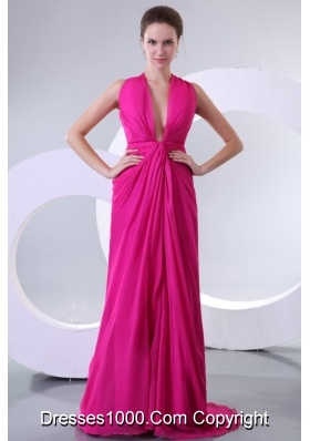 Criss Crossed Back V Neck Fuchsia Long Prom Celebrity Dress