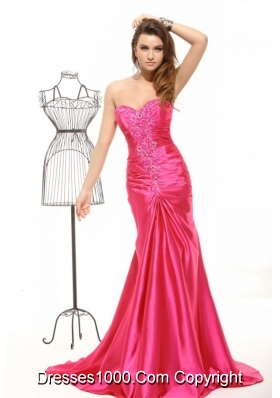 Hot Pink Appliques Mermaid Ruched Latest Prom Party Gowns