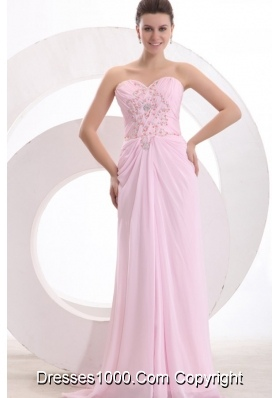 Chapel Train Sweetheart Applique Baby Pink Prom Party Dress