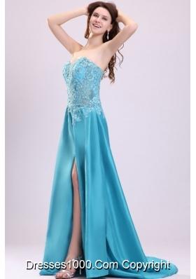 Embroidery Teal Taffeta Brush Train Prom Dress with High Slit