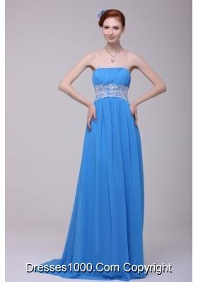 Applique Strapless Prom Graduation Dresses with Brush Train