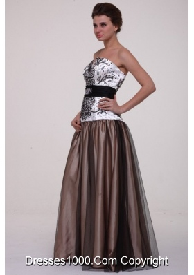 Black Sash Printed White and Brown Top Prom Evening Dress