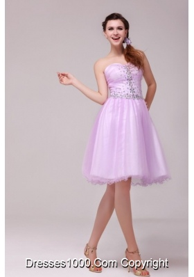 Knee-length A-line Lilac Tulle Prom Dama Dresses with Beading