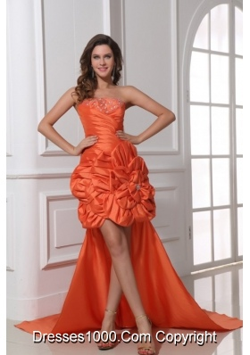 High Low Beaded and Ruched Rolling Flowers Prom Evening Dress