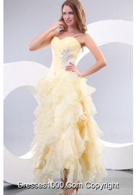 A-line Sweetheart Organza Yellow Prom Dress with Beading and Ruffles