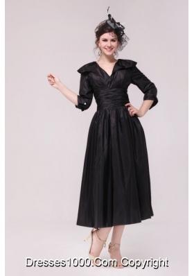 V-neck Half Sleeves Tea-length Taffeta Dresses for Prom in Black