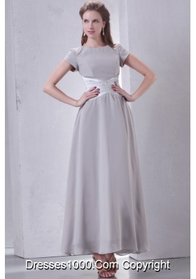 Short Sleeves Scoop Ankle-length Gray Chiffon Prom Gown Dress