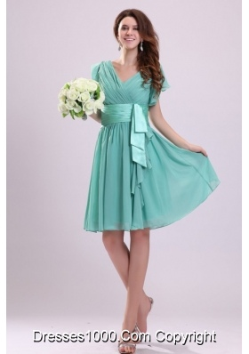 Cute A-line Cap Sleeves Knee-length Chiffon Prom Nightclub Dress