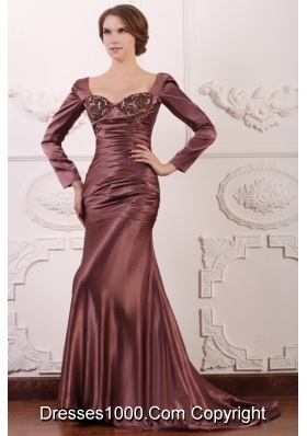 Square Long Sleeves Mermaid Brush Train Taffeta Prom Dresses