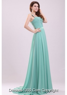 Beaded Wide Straps A-line Chiffon Prom Dress with Tail for Ladies