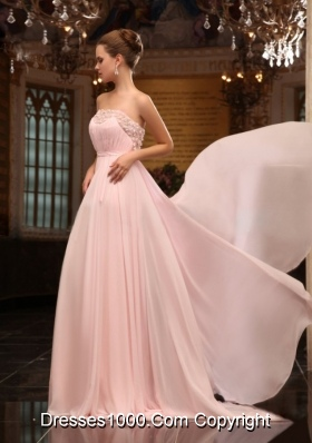 Strapless Appliques Ruching Brush Train Prom Formal Dress in Baby Pink