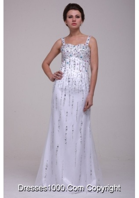 Sassy White Straps Column Prom Dresses Decorated with Beading
