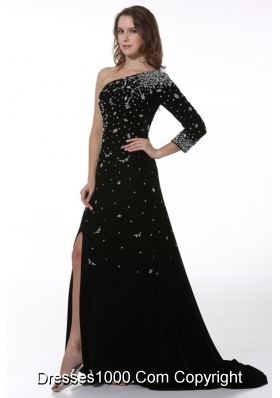 Chic Black Half Sleeve Slit Prom Pageant Dress with Sweep Train