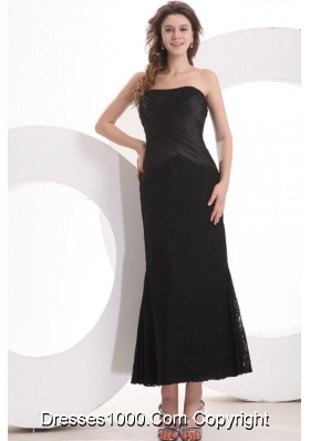 Black Ankle-length Column Lace and Taffeta Prom Dress for Girls