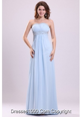 Light Blue Empire Diamonds Decorated Chiffon Prom Gown Dress