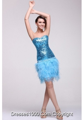 Column Knee-length Feathers and Sequins Blue Prom Party Dress