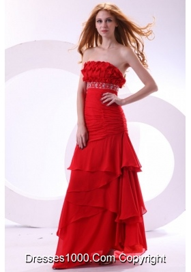 Beading Ruffles and Ruching Layers Red Chiffon Prom Gown Dress