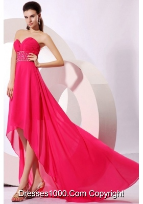 High Low A-line Beaded Decorated Chiffon Prom Dama Dresses