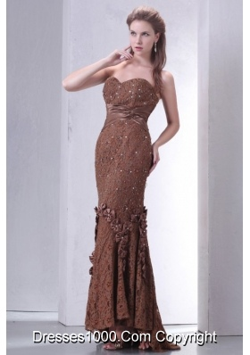Brown Sheath Hi-lo Lace Dresses for Prom with Beaded Bowknots
