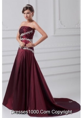 Burgundy A-line Appliques and Ruching Court Train Prom Dress