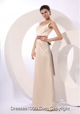 Square Neckline Column Champagne Prom Bridesmaid Dresses