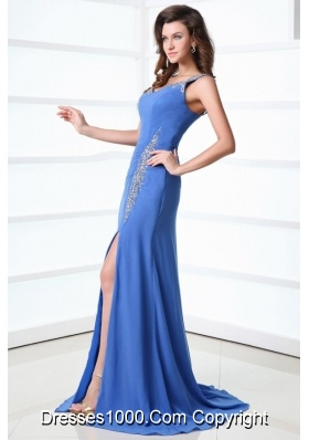 Paillettes Straps Sheath High Slit Brush Train Prom Gown Dresses