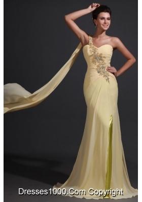 Single Shoulder Appliques and Ruffles Chiffon Prom Dama Dresses