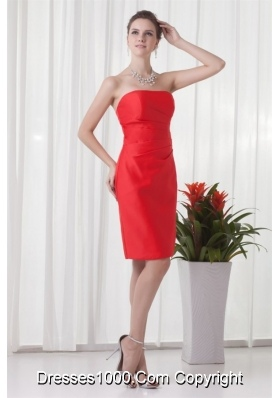 Vintage Column Strapless Knee-length Taffeta Prom Gowns in Red