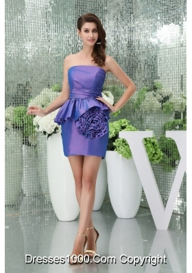Mini-length Strapless Rolling Flowers Taffeta Prom Dress for Ladies