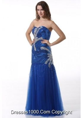 Sassy Paillettes Decorated Column Sweetheart Prom Gown in Blue