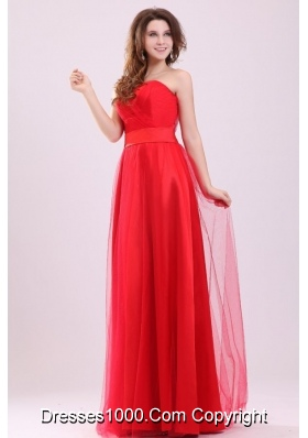Cute Empire Sweetheart Red Ruching Full-length Tulle Prom Gown Dress