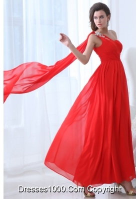 Flowers and Ruffles One Shoulder Ankle-length Red Prom Dresses