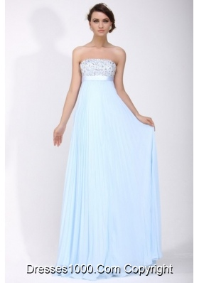 Baby Blue Empire Pleating and Beading Chiffon Prom Formal Dress