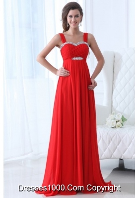 Wide Straps Empire Red Chiffon Prom Pageant Dresses with Trail