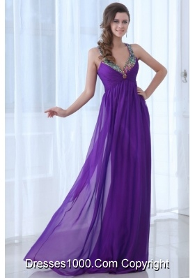 Sequins Straps Empire Purple Chiffon Prom Evening Dress on Sale
