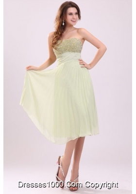 Yellow Green Empire Tea-length Prom Cocktail Dress with Sequins
