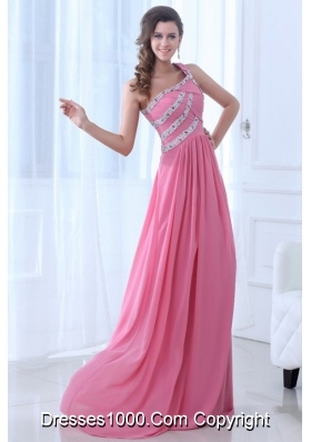 Single Shoulder Ruching and Sequins Prom Gown Dress in Pink