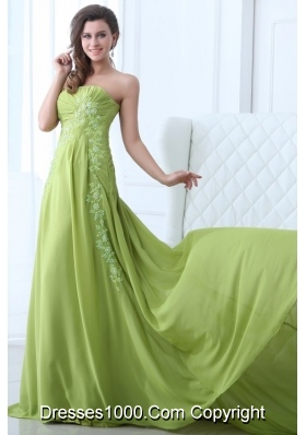 Empire Strapless Appliques and Ruching Prom Gown Dress in Green