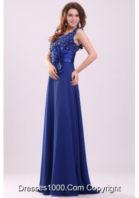 Paillettes and Bowknot Decorated Blue Straps Prom Pageant Dress