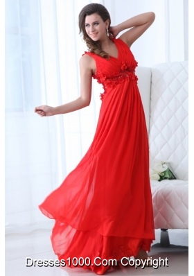 V-neck A-line Handle Flowers Red Chiffon Prom Gown for Woman