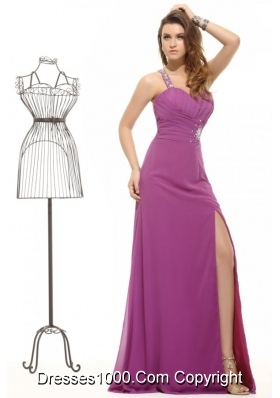 Fancy Purple One Shoulder High Slit Chiffon Prom Pageant Dress