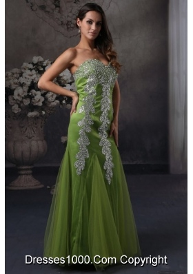 Beaded Decorated Sweetheart Column Green Tulle Prom Gowns